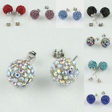 LOTS COLOUR AUSTRIAN CRYSTAL RESIN DISCO BALL PLATINUM /P STUD EARRINGS