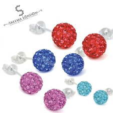 Earring Shamballa Stud Earrings Silver With Multi-Colour Crystals UK Seller