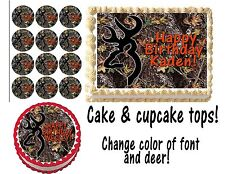 Deer Hunting CAKE topper Cupcakes Edible buck mark icing  Paper camo camouflage