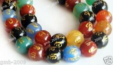"""8mm 10mm 12mm 14mm Multicolor Tibetan Guru Agate With Mantra Sign Beads 15"""""""