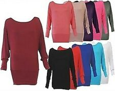 NEW WOMENS PLUS SIZE BAGGY BATWING TUNIC SLOUCH LADIES DRESS TOP SIZE 8-20