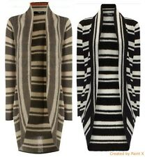 New Ladies Cocoon Stripe Cardigan Shrug Open Boyfriend Fluffy Jumper 6 - 16