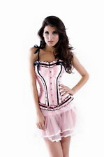 Corset / Bustier/ Top Cosage Burlesque satiné Rose bretelles  5159 du S à 2XL