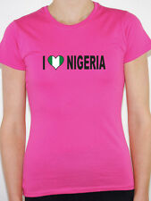 I LOVE NIGERIA WITH NIGERIAN FLAG IN A HEART SHAPE International Womens T-Shirt