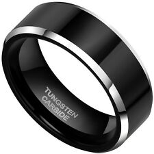 8mm Black Ceramic Tungsten ring Finish Comfort Fit Size7-9 10.5-13 hard mens new