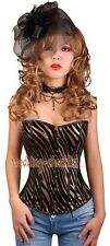 Gold Zebra Print CORSET Faux Leather Bustier S-3XL Back Waist Shaper WC-v9701_g