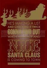 SANTA CLAUS TOWN CHRISTMAS Vinyl Wall Saying Lettering Quote Deco Decal Craft