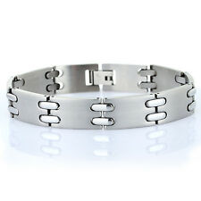 Mens Hallmarked Links Jewellery Brushed Stainless Steel Bracelet Gift Under £20