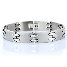 Mens Hallmarked Links Jewellery Brushed Stainless Steel Bracelet Gift Under £10