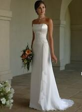 Charming white Wedding Evening dress Embroidery Wrinkle in stock 6/8/10/12/14/16