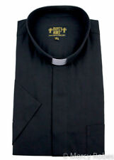 New Black SHORT SLEEVE Clergy Tab Collar Shirt Minister Preacher