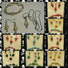 """Skull"" Earrings, Necklace & Bracelet Set Turquoise (16 Colors/Styles) FREE SHIP"