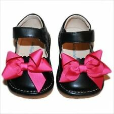 ADD-a-BOW Girls Black SQUEAKY SHOES Toddler SIZES 4-8 Plus Hot Pink Bows
