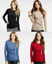 NWT Ann Taylor Petite Ruched Long Sleeve Crew Neck Top sz XS S M