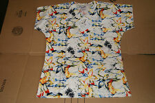 SCRUBS S.C.R.U.B.S. NURSES V-NECK 3 POCKETS Hang Loose Pattern BEACH SURF
