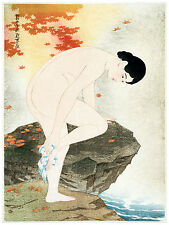430.Oriental Art Decor POSTER. Graphics to decorate home office. Lady bathing.