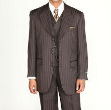 Men's 3 piece Fashion Tone on Tone Stripe Suits w/Vest Brown 29197