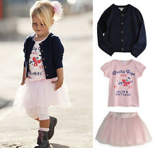 New Girl Kids Toddler Knitted Jacket+T-shirt+Skirt 3PCS Set Outfit TuTu Age6M-5Y