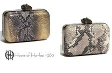 HOUSE OF HARLOW 1960 Nichole Richie Silver Marley Animal P Leather Clutch Bag