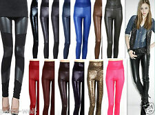 Sexy Lady High Waist Stretchy Faux Leather Look Leggings Hot S M L