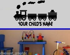 TRAIN & CHILD'S NAME VINYL DECAL WALL ART DECOR STICKER PERSONALIZED BOYS ROOM