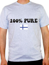 100% PURE FINNISH - Finland / Nordic / Flag / Novelty Themed Mens T-Shirt
