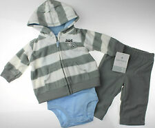 Carter's Infant Boys NWT 6M 3Pc Micro Fleece Hooded Cardigan Pant