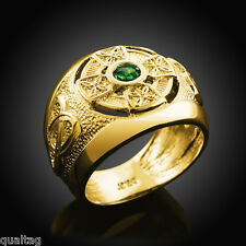 Solid Gold Celtic Cross Men's Green CZ Emerald Ring