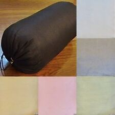 Round Bolster cover faux silk yoga massage neck pillow removable many size color