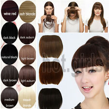 UK Lady Clip On Clip In Front Hair Bang Fringe Hair Extension Straight