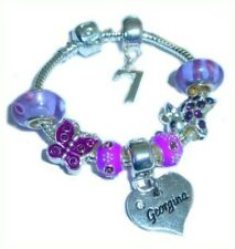 CHILDRENS/GIRLS PERSONALISED NAME/INITIAL & AGE CHARM BRACELET PURPLE GIFT BOXED