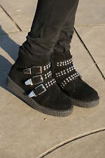 NEW WOMENS FLATFORMS BROTHEL SUEDE CREEPERS BOOTS LONDON UNDERGROUND STYLE GOTH