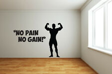 NO PAIN NO GAIN MUSCLE MAN Wall Art Design - Weight Lifting / Fitness Themed