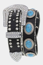 Western Cowgirl LEATHER Belt Turquoise CONCHOS Crystal BLING Rhinestone S M L XL