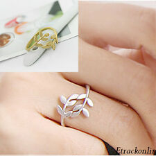 Fashion Exquisite Alloy Rhinestone Double Leaf Ring Rings Silver/Bronze Plated