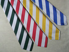RED BLUE GREEN YELLOW SILVER STRIPED MENS NECK TIE VINTAGE MOD 70s 80s NEW