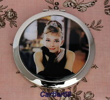 Audrey Hepburn Vintage Style Handbag Lady Compact Mirror FREE Gift Box and Pouch