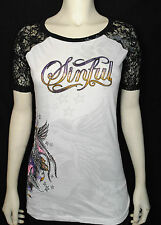 IR SINFUL BY AFFLICTION WOMENS 'herbal' LACE DETAIL GRAPHIC T-SHIRT SZ: XS-XL