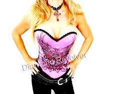 Sexy Womens Pink Tattoo Wings Corset Punk Rock Chick Glam Gothic Fetish S M L