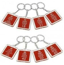 KEEP CALM 18TH 21ST 30TH 40TH 50TH 60TH BIRTHDAY KEYRINGS VARIATIONS NOVELTY