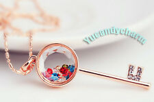 Made in Korea 18K Rose Gold Love Key necklace with Austrian crystals inside