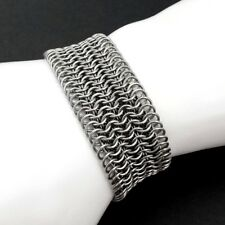 Extra Wide Stainless Steel Chain Mail Cuff Bracelet Silver-Tone Chainmail Maille