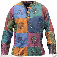 Stonewash Grandad Cotton Shirt With Patchwork,Colourful,Hippie Clothing,Boho
