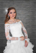 Bridal Ivory/White Lace Bolero Shrug Wedding Jacket Long Sleeve  S/M-L/XL - B109