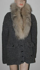 AUTH $1995 Burberry Brit Women 100% Wool Sweater With Blue Fox Scarf
