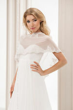 WEDDING TULLE IVORY BRIDAL SHAWL WRAP STOLE SHRUG BOLERO JACKET S M L XL -BB115