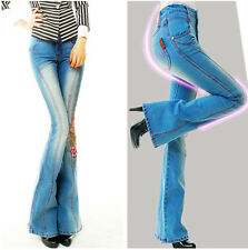Women Demin Jeans Bell Bottoms Wide leg Mid-Rise Stretch Pants Trousers  fashion