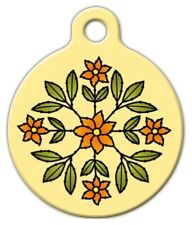FLORAL DESIGN - Custom Personalized Pet ID Tag for Dog and Cat Collars