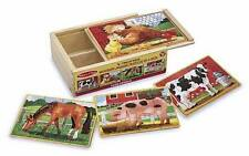 CHILDRENS CHILD MELISSA AND DOUG 4 WOODEN FARM ANIMALS JIGSAW PUZZLES IN A BOX