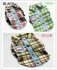 Cute Design Small Dog Pet Clothes Apparel Plaids Shirts Free Shipping 3 Colors